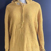 Women Sweater Mustard Hooded Long Sleeve Knit Pullover Drawstring Size M/l Photo