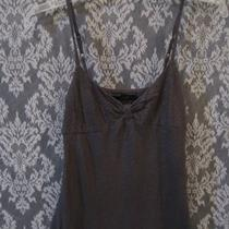Women Sz Charcoal Gray Silver Metallic Shimmer Empire Cami Top  Express Photo