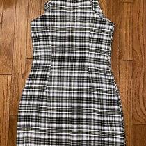 Women Teens New Urban Outfitters White/black/yellow Plaid Mini Dress Size Xs Photo