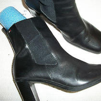 Women Tommy Hilfiger Over Ankle Boot Size 7.5med Heel 2.5'' Black Leather Photo