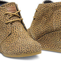 Women Toms  Natural Cheetah Suede Desert Wedges   Shoe 9 Photo