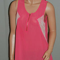 Women Top Coral Chloe K Size M  Made in Vietnam Sheer Front Zipper Lace Photo