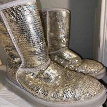 Women Ugg Boots Gold Sequins Size 7 Photo
