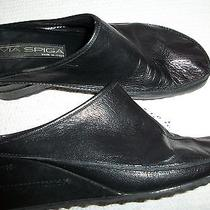 Women via Spiga Wedge Mule Shoe Size 8.5med Black Leather Heel Photo