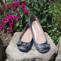 Women Vince Camuto 6 M Leather Ballet Flats Shoe Gray With Silver Buckle  Photo