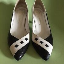 Women Vintage Looking Black & White Jeffrey Campbell Pointed Shoes With Heels Photo