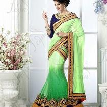 Women Wedding Designer Saree Green Honeydew Trendy Embroidered Sari 37009 Photo