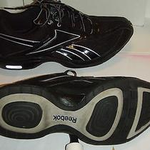 Womens 10 B Reebok Athletic Shoe Black Silver Leather Traintone Moving Air Photo
