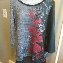 Womens 2-Pc Outfit Gap Gray Pencil Skirt Sz 16 Roz & Ali Multi-Color Sweater Lg Photo
