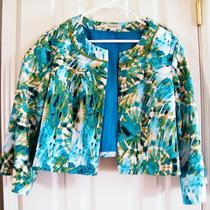 Womens 20 Dress Barn Short Dressy Jacket Green Aqua Blue Black Lined Gorgeous  Photo