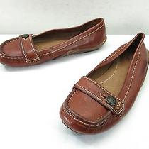 Womens 5.5 Frye Laney Button Moccasin Flats Slip on Brown Driving Flat Loafers Photo
