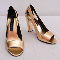 Womens 5.5 Steven by Steve Madden Gold Leather Open Toe High Heels Party Shoes Photo