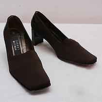 Womens 5 B Stuart Weitzman Brown Microfiber Over Leather Pump Heels Made N Spain Photo
