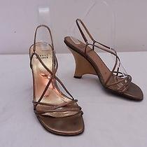 Womens 6.5 Stuart Weitzman Gold Slingback Wedge High Heel Sandals Made in Spain Photo