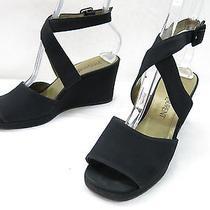 Womens 6.5 Yves Saint Laurent Platform Wedge Sandal Black Satin Ankle Strap Heel Photo