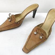 Womens 6 Donald J Pliner Mules High Heel Slip on Loafer Brown Nubuck Pump Slides Photo