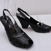 Womens 6 M via Spiga Perforated Peep Toe Slingback Stylized Wedge High Heels Photo