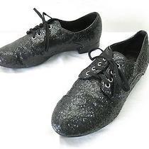 Womens 6 Pour La Victoire Black Glitter Oxford Flats Lace Up Sparkly Jazz Shoes Photo