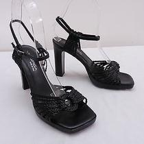 Womens 6 via Spiga Black Huarache Woven Leather Ankle Strap High Heel Sandals Photo