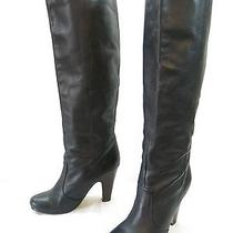 Womens 7 Dolce Vita Knee High Boots Black Leather Heels Slip on Riding Round Toe Photo