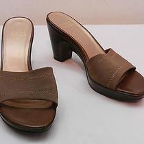 Womens 8.5 M Stuart Weitzman Bronze Textile Over Leather Slide High Heel Sandals Photo