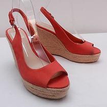 Womens 8 Dolce Vita Peach Red Espadrille Platform Wedge Peep Toe Slingback Heels Photo