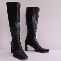 Womens 8 M via Spiga Black High Heel Side Zip Riding Boots Made in Italy Photo