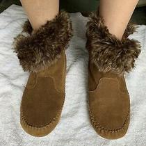 Womens 8 Minnetonka Faux Fur Trimmed Brown Leather Moccasin Booties Photo