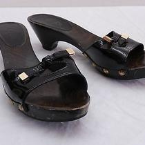 Womens 8 Tod's Wood Soled Black Patent Leather Logo Tie Slide Sandals Italy Photo