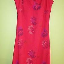 Womens 9 / 10 Spaghetti Strap Sun Dress Red & Purple Floral Nice Photo