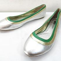 Womens 9.5 Matiko Silver Green Leather Ballet Flat Slip on Skimmer Metallic Shoe Photo