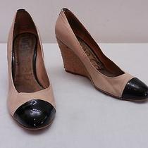 Womens 9.5 Sam Edelman Beige Black Patent Leather Cap Toe High Wedge Heels Photo