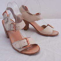 Womens 9 Dolce Vita Ivory Beige Leather Buckle Ankle Strap Sandals W 3