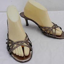 Womens 9 M via Spiga Metallic Silver Strappy Slide Sandals W Heels Made in Italy Photo