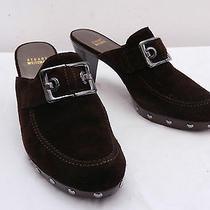 Womens 9 Stuart Weitzman Brown Suede Buckle Detail Slide Mule High Heels Photo