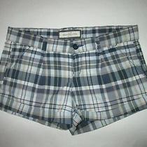 Womens Abercrombie a&f Blue Plaid Stretch Shortie Shorts Size 2 Excellent Photo