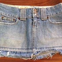 Womens Abercrombie & Fitch Raw Edge Jean Skirt Tag Size 0 Waist Measure 28 Photo