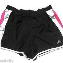 Womens Adidas Black White & Pink Panty Lined Running Shorts Size Large Exc Cond Photo