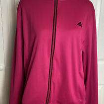 Womens Adidas Lightweight Hot Pink and Black Stripe Zip Jacket Size Xl Photo