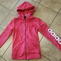 Womens Adidas Logo on Arm Zip Up Hoodie Jacket Pink White Cg1434 Size Xs (4-6) Photo