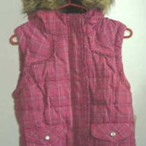 Womens Aeropostale Fur Plaid Hooded Puffer Vest Size Xs Nwt 8607 Photo