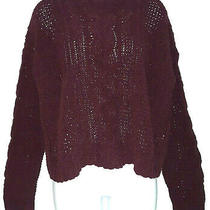 Womens Aeropostale Long Sleeve Crew Neck Cable Knit Egplant Sweater Med Nwot Photo