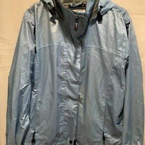 Womens Against the Elements Jacket Size S (6-8) Boca 9 Blue Hooded Nylon Zip Up Photo