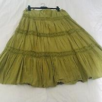 Womens Alc Green Elastic Waist Cotton Lined Skirt Size Medium Exc Con - Photo