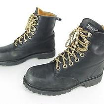 Womens Aldo Black Leather Insulated Lace Up Ankle Soft Toe Work Style Boots 6-7 Photo
