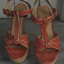 Womens Aldo Coral Peach Gold Heels Size 38 Platforms Shoes Comfortable Sexy Chic Photo