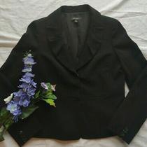 Womens Ann Taylor Black Short Suit Coat Career Blazer Ruffle Collar Peplum Sz 6 Photo