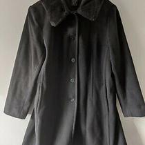 Womens Anne Klein Black Wool Blend Soft  Mid Lengths Jacket Coat Sz Large Photo
