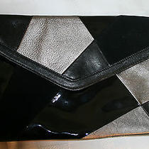 Womens Anne Klein Evening Bag Handbag Purse Clutch Patchwork Black Vgc  Photo