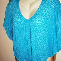 Womens Aqua Blue Angel Wing L Circle Top Crochet Back Sheer Leopard Burnout Lg Photo